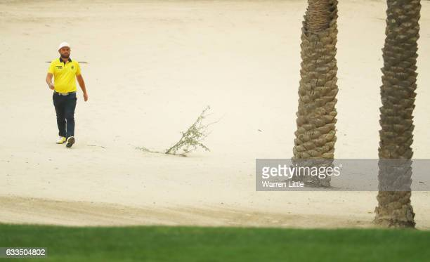 Andy Sullivan of England walks on the 14th hole during the first round of the Omega Dubai Desert Classic at Emirates Golf Club on February 2 2017 in...
