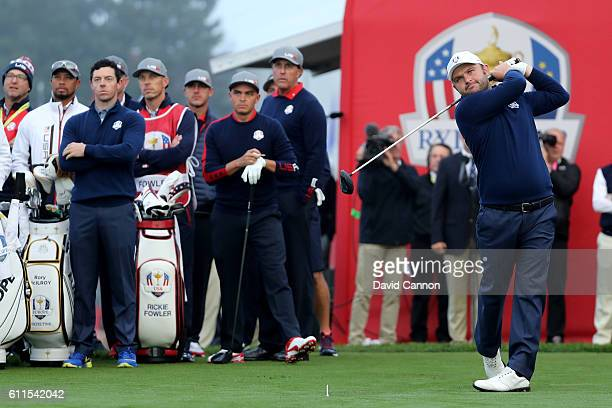 Andy Sullivan of Europe hits off the first tee during morning foursome matches of the 2016 Ryder Cup at Hazeltine National Golf Club on September 30...