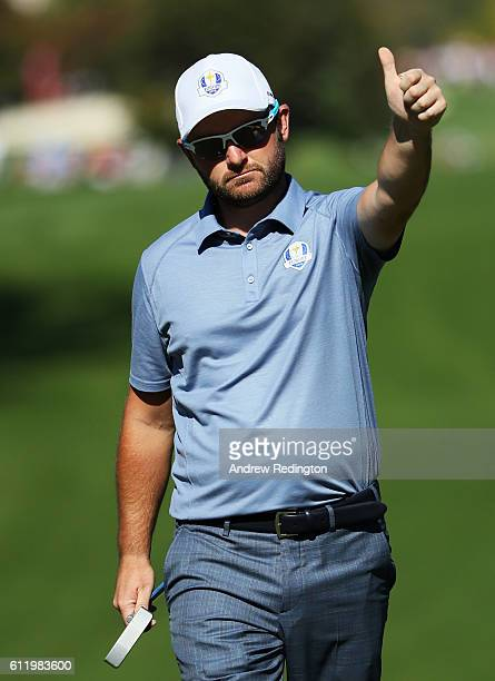Andy Sullivan of Europe reacts on the third green during singles matches of the 2016 Ryder Cup at Hazeltine National Golf Club on October 2 2016 in...