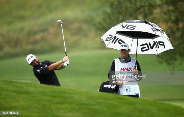 Andy Sullivan plays his approach shot on the 18th during day two of the HNA Open de Feance at Le Golf National on June 30 2017 in Paris France