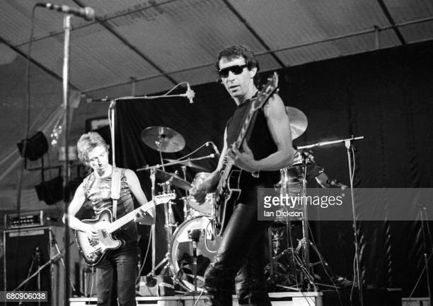 Andy Summers and Henry Padovani of rock group The Police performing on stage at the MontdeMarsan Festival 5th August 1977