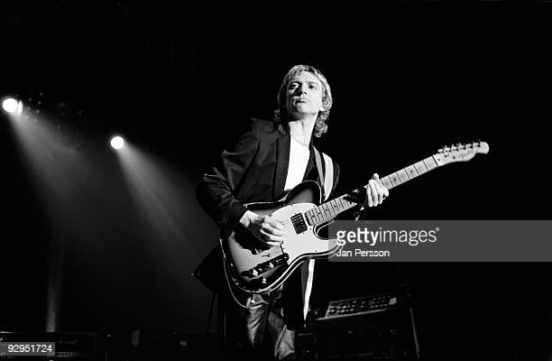 Andy Summers of The Police performs on stage at the Brondbyhallen on January 5th 1982 in Copenhagen Denmark He plays a Fender Telcaster Custom guitar