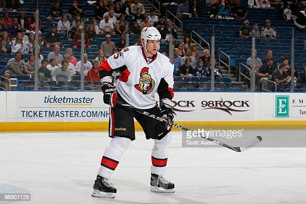 Andy Sutton of the Ottawa Senators defends the zone against the Tampa Bay Lightning at the St Pete Times Forum on April 8 2010 in Tampa Florida