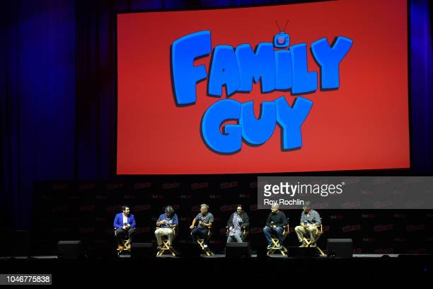 Andy Swift Alec Sulkin John Viener Kara Vallow Richard Appel Mike Henry and John Viener speak onstage at the Family Guy panel during 2018 New York...