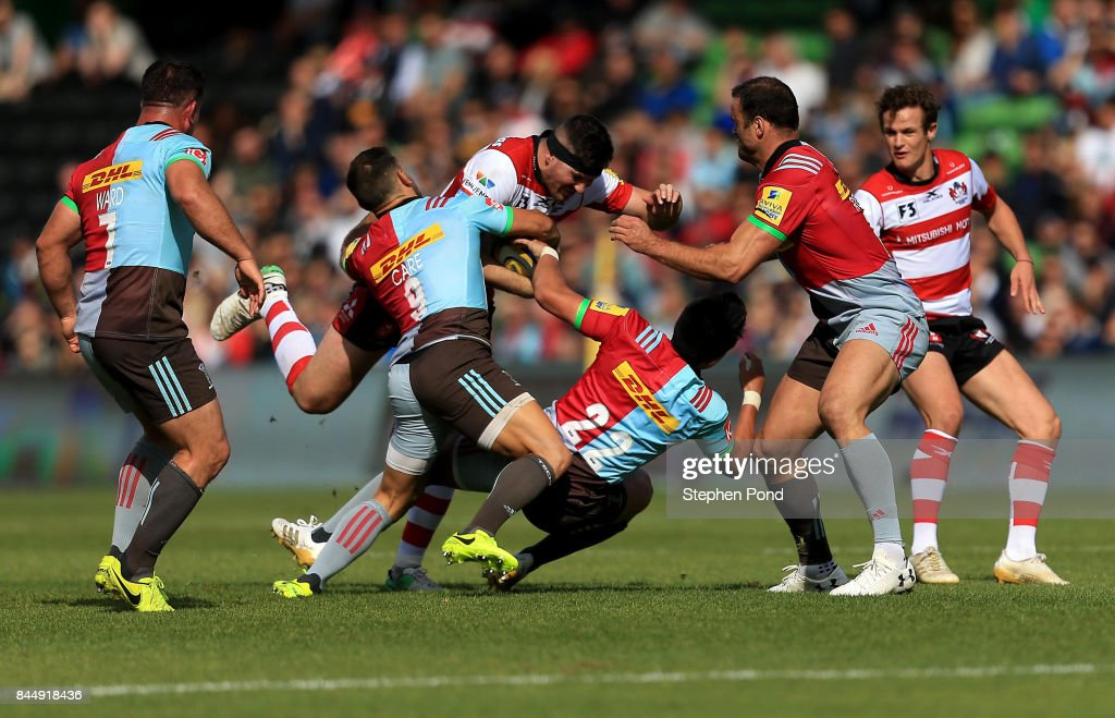 Andy Symons of Gloucester Rugby is tackled during the Aviva Premiership match between Harlequins and Gloucester Rugby at Twickenham Stoop on September 9, 2017 in London, England.