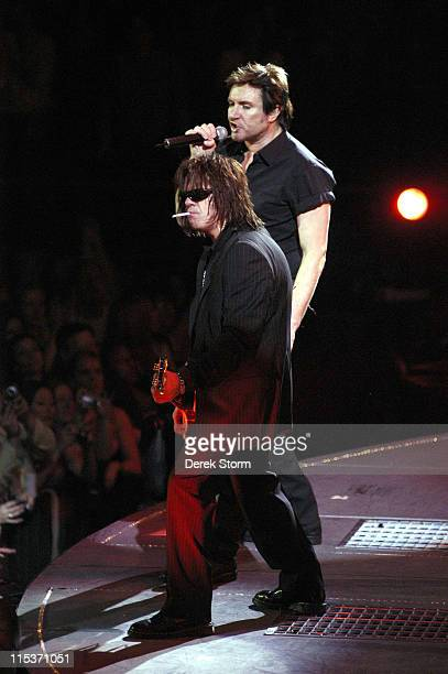 Andy Taylor and Simon Le Bon of Duran Duran during Duran Duran in Concert at Madison Square Garden April 13 2005 at Madison Square Garden in New York...