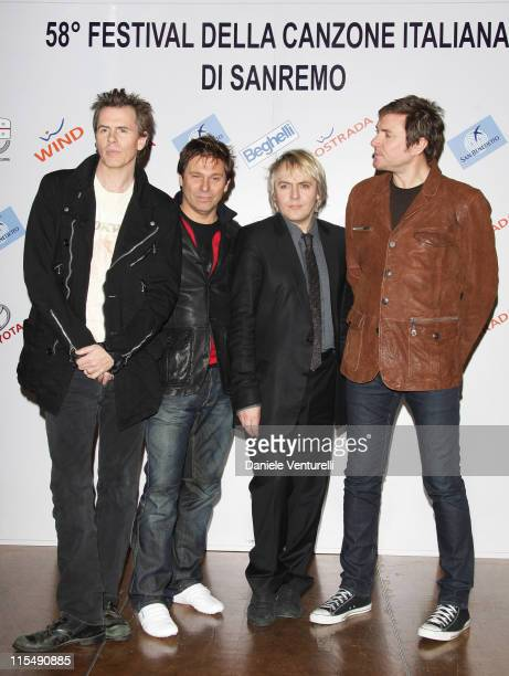 Andy Taylor Roger Taylor Nick Rhodes and Simon le Bon of Duran Duran pose during a photocall at the Teatro Ariston on February 26 2008 in Sanremo...