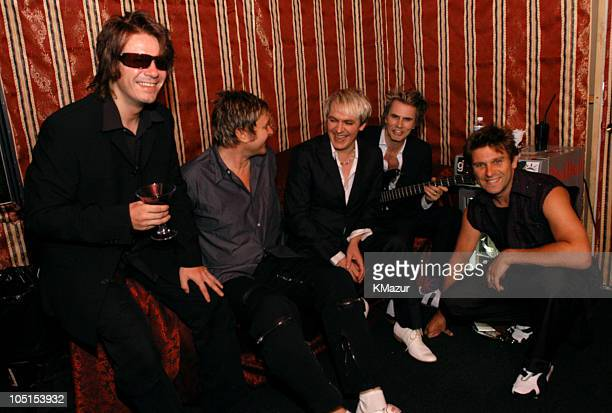 Andy Taylor Simon Le Bon Nick Rhodes John Taylor and Roger Taylor backstage at The Roxy at the Duran Duran show presented by DKNY Jeans and The Fader