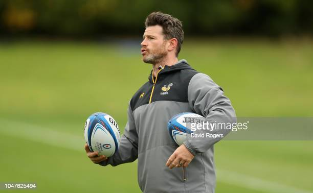 Andy Titterrell, the Wasps forwards coach looks on during the Wasps training session held on October 8, 2018 in Coventry, England.