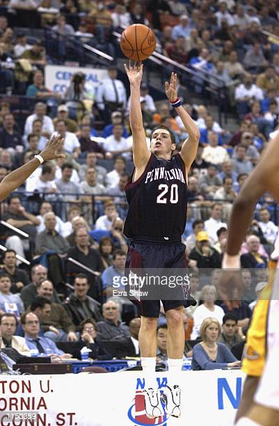 Andy Toole of the Pennsylvania Quakers shoots a jump shot during the first round of the 2002 NCAA Division I Men's Basketball Championships against...