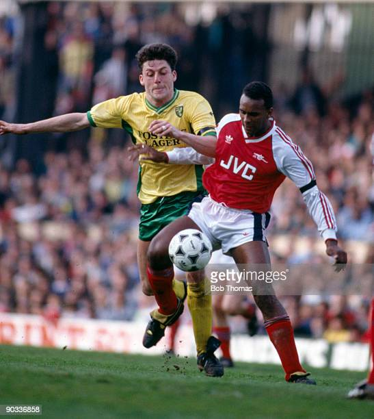 Andy Townsend of Norwich City with David Rocastle of Arsenal during the Arsenal v Norwich City Division 1 match held at Highbury on the 1st September...
