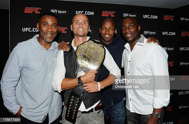 Andy Turner Marlon Devonish and Derek Redmond at the Paramount Club during the Jon Jones and Alex Gustafsson Press Tour of London on August 3 2013 in...