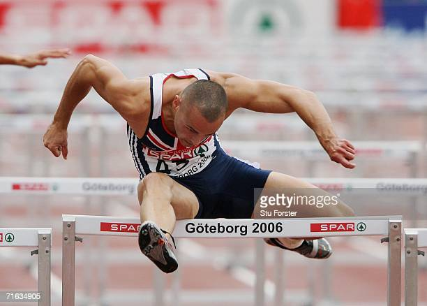 Andy Turner of Great Britain competes during his Men's 110 Metres Hurdles Semifinal on day six of the 19th European Athletics Championships at the...