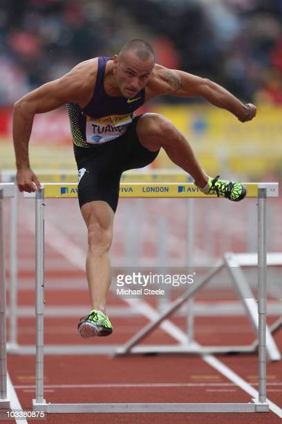Andy Turner of Great Britain in the heats of the men's 110m hurdles during the Aviva London Grand Prix at Crystal Palace on August 14, 2010 in...