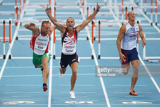 Andy Turner of Great Britain wins the gold medal in the Mens 110m Hurdles Final during day four of the 20th European Athletics Championships at the...