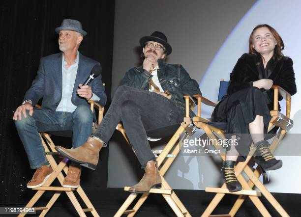 Andy Umberger Nathan Sutton and Augie Duke answer questions during the Q A portion of the Premiere Of Burning Kentucky held at Fine Arts Theatre on...