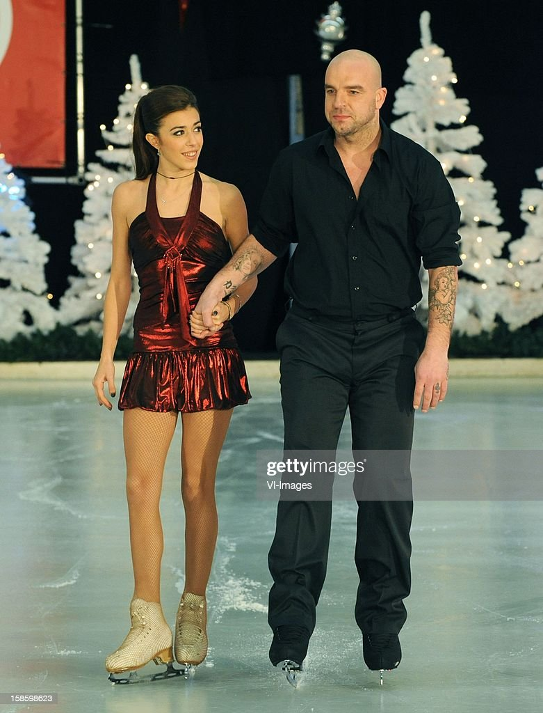 Andy van der Meyde and his partner Alice training for the celebrity television show Dancing on ice at December 18, 2012 at Utrecht, Netherlands.