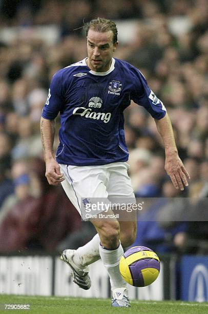 Andy van der Meyde of Everton in action during the Barclays Premiership match between Everton and Newcastle United at Goodison Park on December 30...
