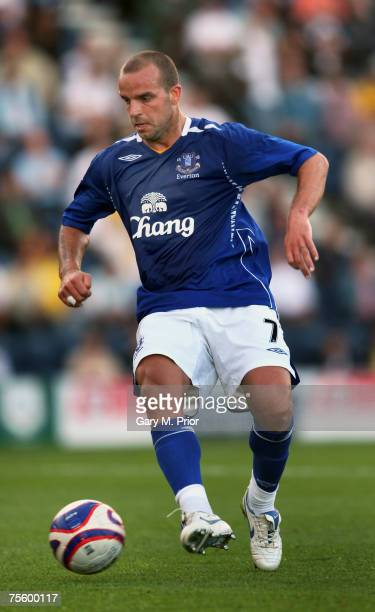 Andy van der Meyde of Everton in action during the Friendly match between Preston North End and Everton at Deepdale on July 18, 2007 in Preston,...