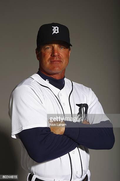 Andy Van Slyke of the Detroit Tigers poses for a portrait during Photo Day on February 23 2008 at Joker Marchant Stadium in Lakeland Florida