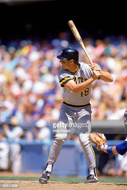Andy Van Slyke of the Pittsburgh Pirates stands ready at the plate during a 1989 MLB season game against the Los Angeles Dodgers at Dodgers Stadium...