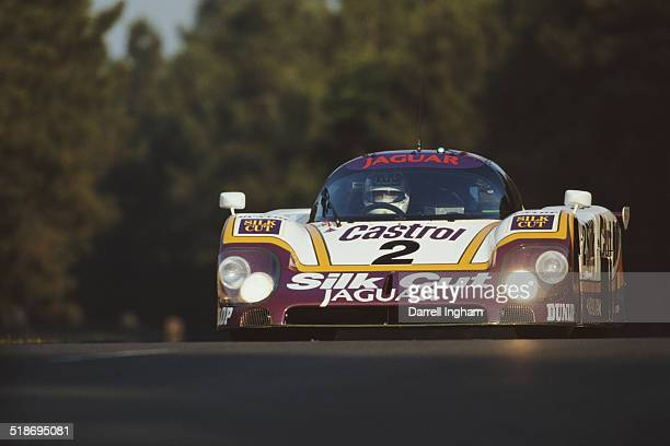Andy Wallace drives the Silk Cut Jaguar Tom Walkinshaw Racing Jaguar XJR9LM during practice for the FIA World Sportscar Championship 24 Hours of Le...