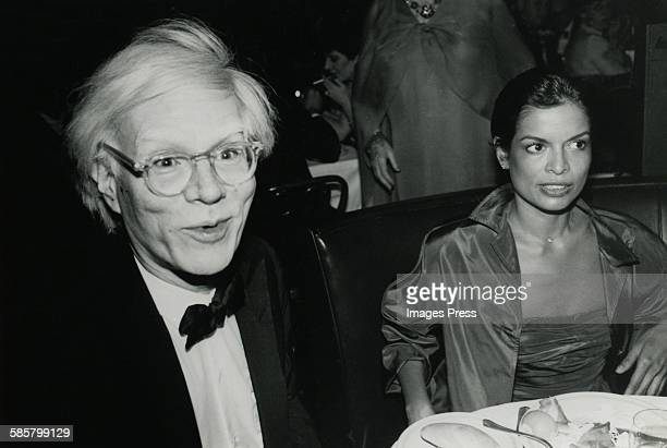 Andy Warhol and Bianca Jagger at Tavern on the Green for Bette Davis' birthday party circa 1980 in New York City