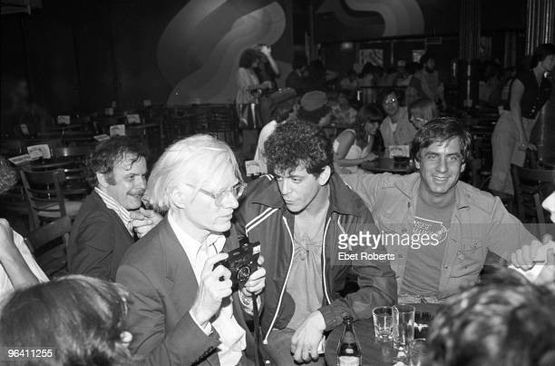 Andy Warhol and Lou Reed with Danny Fields at a David Johansen show at the Bottom Line on July 20th 1978 in New York City