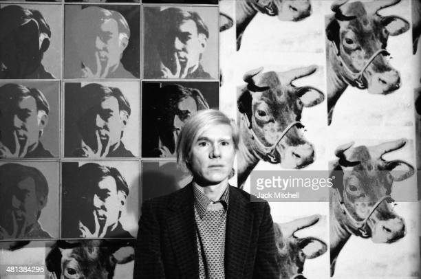 Andy Warhol at his May 1971 retrospective at the Whitney Museum of American Art New York