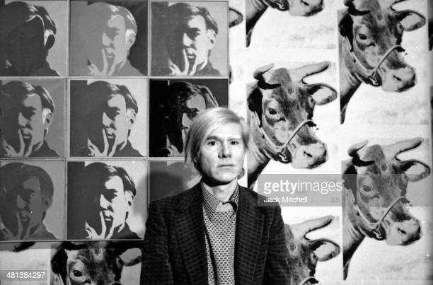 Andy Warhol at his May 1971 retrospective at the Whitney Museum of American Art, New York.