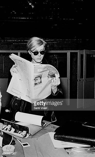 Andy Warhol at the Factory reading a newspaper on January 5 1967 in New York New York