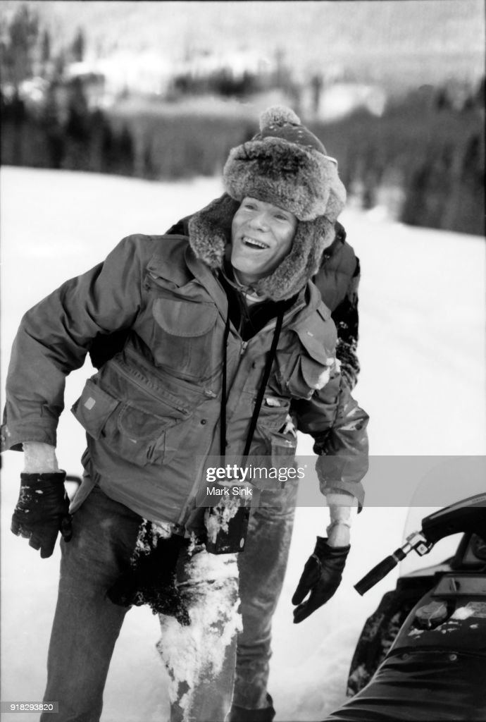Andy Warhol covered in snow after a snowmobile crash documented in 'The Andy Warhol Diaries' on new year's day, January 1, 1983 in Aspen, Colorado.