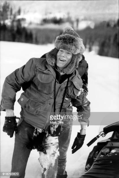 Andy Warhol covered in snow after a snowmobile crash documented in 'The Andy Warhol Diaries' on new year's day January 1 1983 in Aspen Colorado