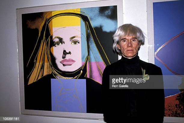 Andy Warhol during Andy Warhol Opening Exhibit July 21 1984 at Stella Polaris Gallery in New York City New York United States