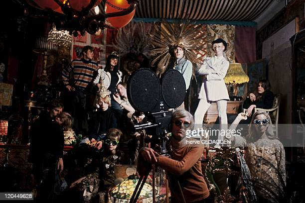 Andy Warhol in New York United States in 1966 Andy Warhol during the shooting of 'Chelsea girls' at the Factory