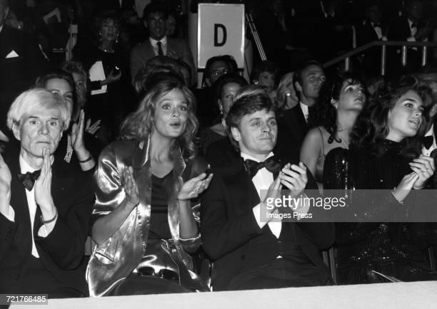 Andy Warhol Lauren Hutton Mikhail Baryshnikov and Brooke Shields attend the Valentino fashion show circa 1982 in New York City