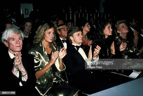 Andy Warhol Lauren Hutton Mikhail Baryshnikov Brooke Shields and Pat Kennedy Lawford attend the Valentino fashion show circa 1982 in New York City