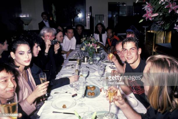 Andy Warhol Nick Rhodes and wife during Andy Warhol's 58th Birthday Party at Mr Chow's Restaurant in New York City New York United States