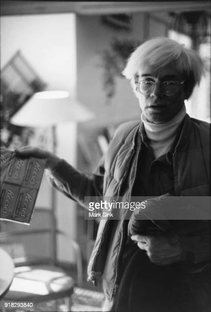 Andy Warhol on New Year's day after snowmobiling with friends on new year's day January 1 1983 in Aspen Colorado
