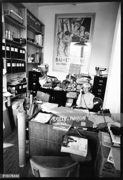 Andy Warhol on the phone in his personal office at the Factory 860 Broadway on September 21 1982 in New York City New York