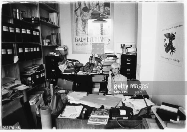 Andy Warhol on the phone in his personal office at the Factory at 860 Broadway on September 21 1982 in New York City New York