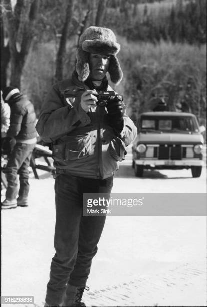 Andy Warhol out in the snow with friends on new year's day January 1 1983 in Aspen Colorado
