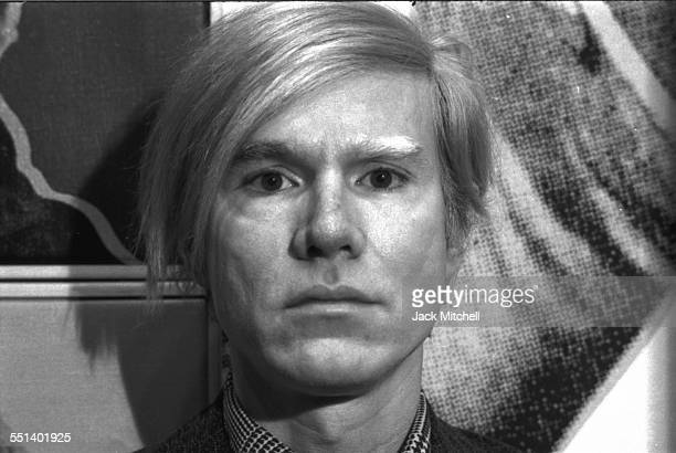 Andy Warhol photographed April 28, 1971 at his retrospective exhibition at the Whitney Museum of American Art in NYC.