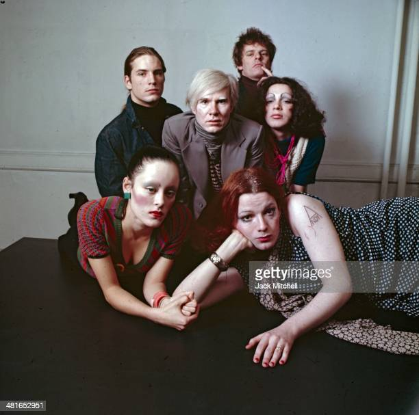 Andy Warhol photographed at the Factory with superstars Jane Forth Jackie Curtis Joe Dallesandro Holly Woodlawn and film director Paul Morrissey