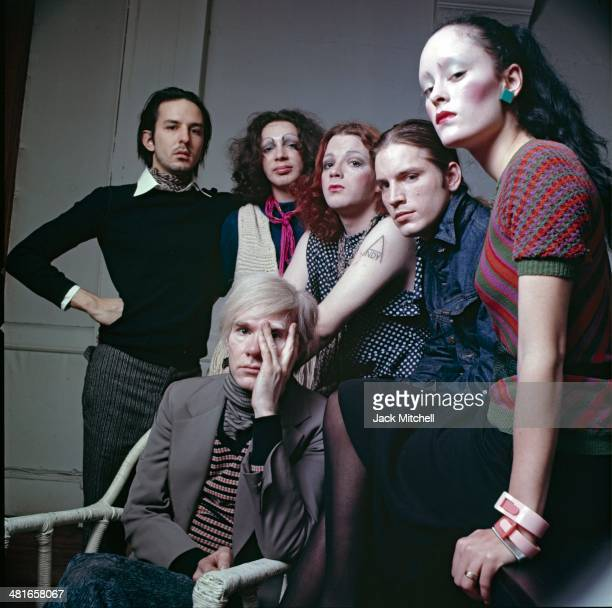 Andy Warhol photographed at the Factory with superstars Jane Forth Jackie Curtis Joe Dallesandro Holly Woodlawn and Fred Hughes Andy Warhol's...