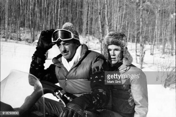 Andy Warhol Snowmobiling with Jon Gould on new year's day January 1 1983 in Aspen Colorado