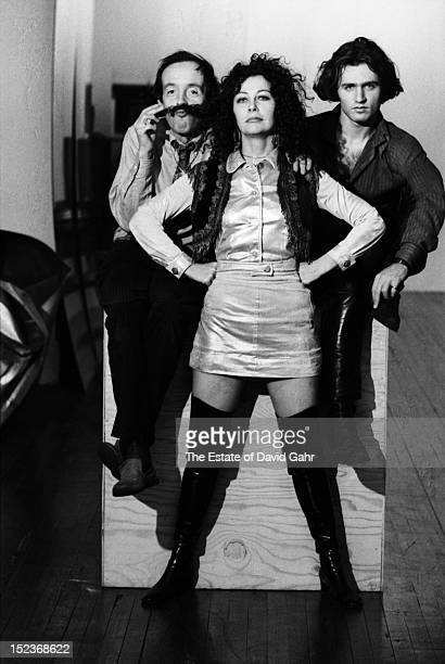 Andy Warhol 'Superstars' actor Taylor Mead actress Ultra Violet and poet and photographer Gerard Malanga pose for a portrait at Andy Warhol's studio...