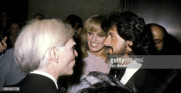 Andy Warhol Susan Anton And Sylvester Stallone during Andy Warhol's Art Opening November 20 1979 at Whitney Museum in New York City New York United...
