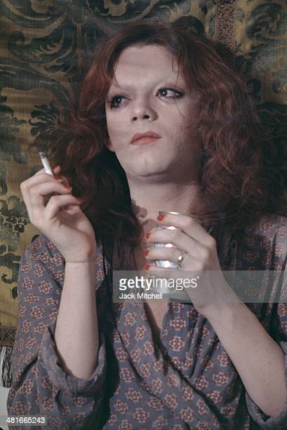 Andy Warhol transvestite Superstar Jackie Curtis filming a scene for 'Women in Revolt' screenwriter/director Paul Morrissey's satire about the...
