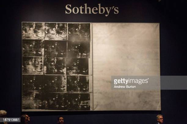 """Andy Warhol's artwork, """"Silver Car Crash """" is displayed while being auctioned at Sotheby's on November 13, 2013 in New York City. The artwork was the..."""